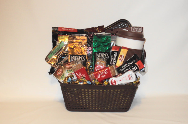 Coffee Station Gift Basket. Custom basket filled with variety of sample coffee, cookies , mints, travel tumbler and more.