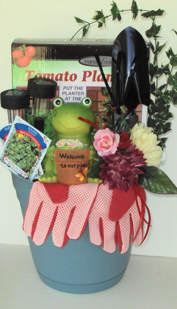 Large garden colorful container basket filled with garden supplies, seeds and whimsical garden items..