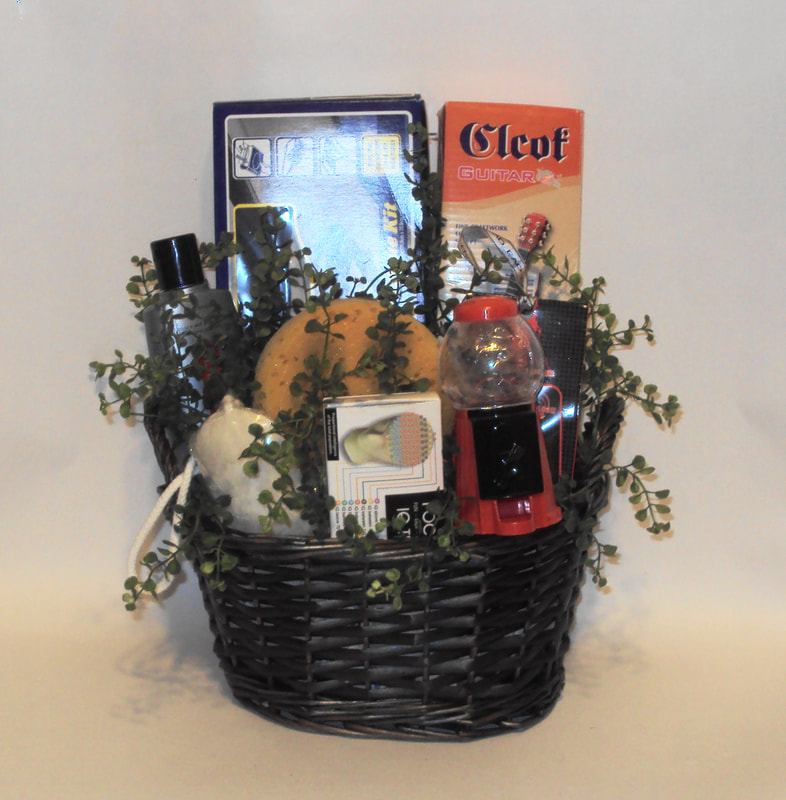 Basket fill with grooming products of scented soap, men gels, cologne and more. Great gift for men