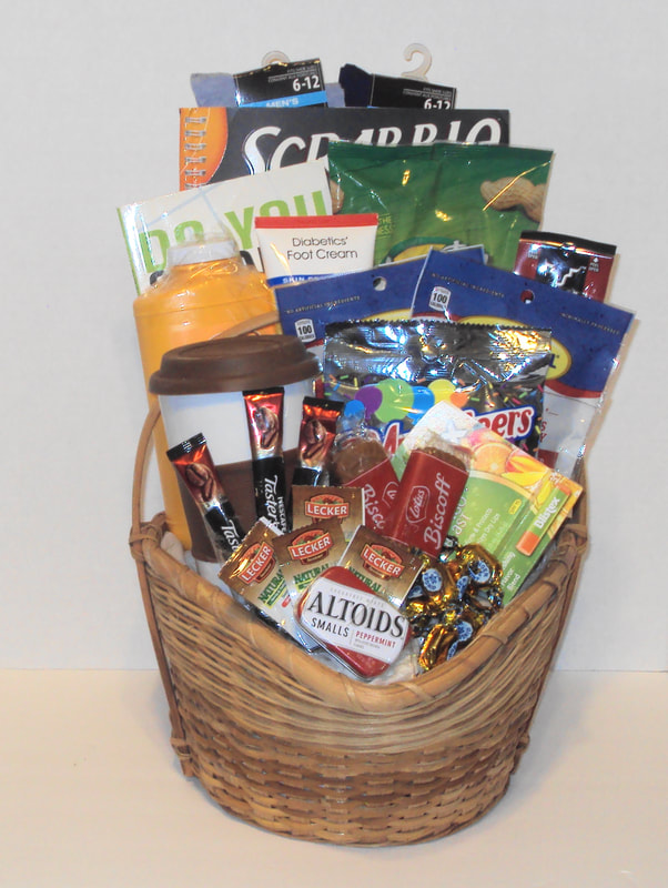 Large custom basket mix and match items, coffee, teas, snacks, nuts, cross-word and mind teasers games. diabetic & Dialysis friendly gift basket.