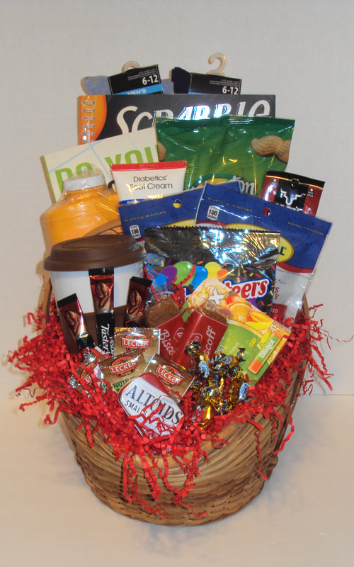 Mix and match custom basket filled with gift   items, coffee, teas, snacks, nuts, cross-word and mind teasers games. diabetic & Dialysis friendly gift basket.