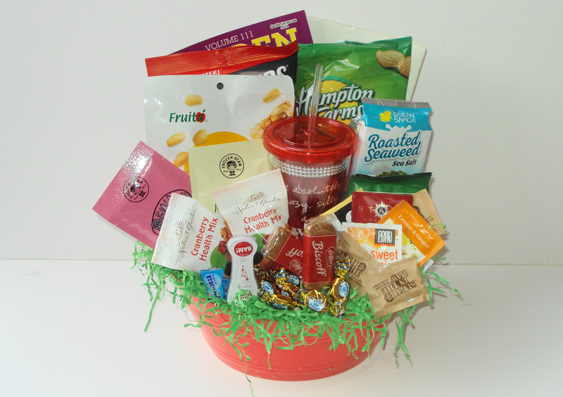 Gift basket filled with chosen food items of choice, great basket for diabetics, dialysis patience or any occasion. Great finish design basket.