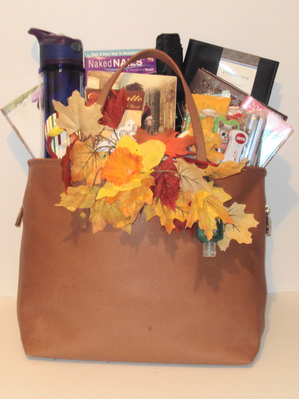 Custom tote handbag filled with gourmet snacks, gift products and more. Great basket for diabetics, dialysis or hospital patients